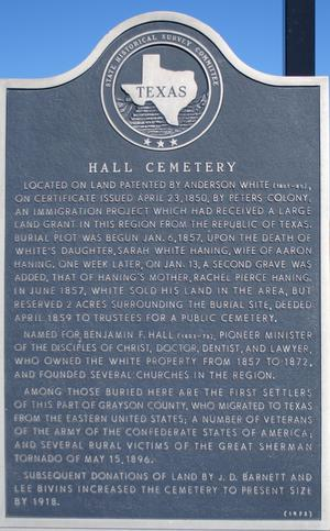 [State Historical Survey Committee Marker: Hall Cemetery]