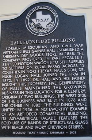 [Texas Historical Commission Marker: Hall Furniture Building]