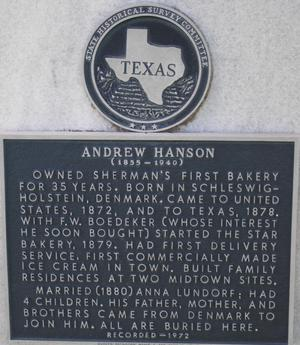 [State Historical Survey Committee Marker: Andrew Hanson]