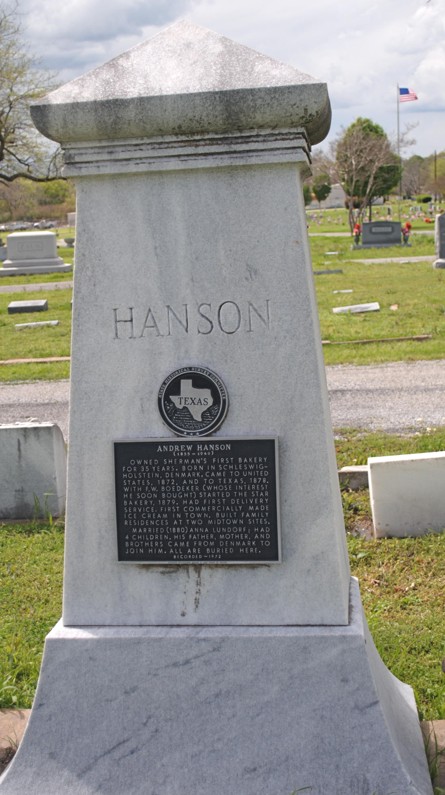 [Photograph of Andrew Hanson's Historical Marker]                                                                                                      [Sequence #]: 1 of 1