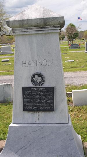 [Photograph of Andrew Hanson's Historical Marker]
