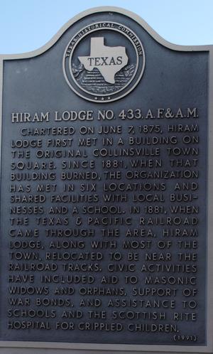 [Texas Historical Commission Marker: Hiram Lodge No. 433, A.F. & A.M.]