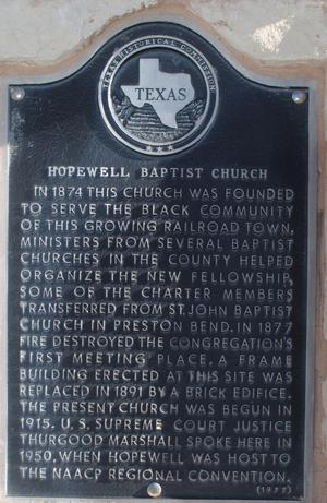 [Texas Historical Commission Marker: Hopewell Baptist Church]