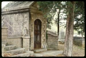 Primary view of object titled '[Photo of a Crypt in the Palestine City Cemetery Complex]'.