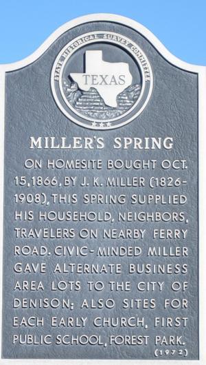 Primary view of object titled '[State Historical Survey Committee Marker: Miller's Spring]'.