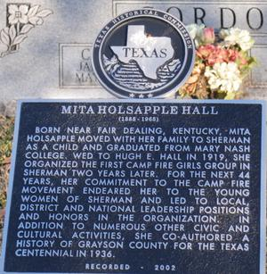 Primary view of object titled '[Texas Historical Commission Marker: Mita Holsapple Hall]'.