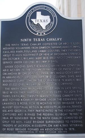 [Texas Historical Commission Marker: Ninth Texas Cavalry]