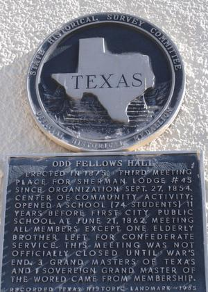 Primary view of object titled '[Texas Historical Commission Marker: Odd Fellows Hall]'.