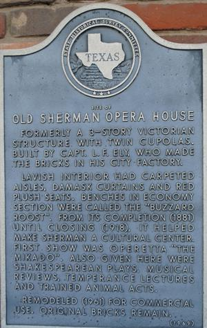 [Texas Historical Commission Marker: Old Sherman Opera House]