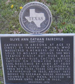 Primary view of object titled '[Texas Historical Commission Marker: Olive Ann Oatman Fairchild]'.