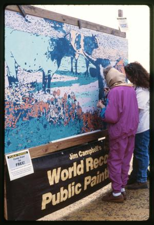 Primary view of object titled '[Coloring Mural at Dogwood Festival]'.