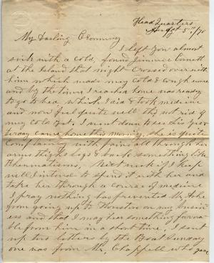Primary view of object titled 'Letter to Cromwell Anson Jones, 5 August 1870'.