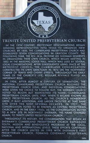 [Texas Historical Commission Marker: Trinity United Presbyterian Church]