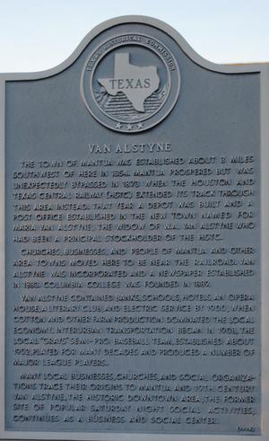 Primary view of object titled '[Texas Historical Commission Marker: Van Alstyne]'.