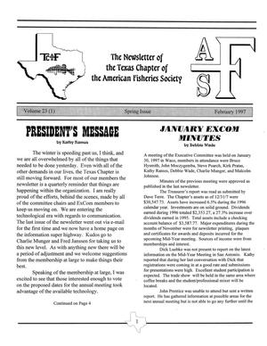 The Newsletter of the Texas Chapter of the American Fisheries Society, Volume 23, Number 1, February 1997