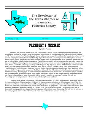 The Newsletter of the Texas Chapter of the American Fisheries Society, Volume 23, Number 3, August 1997