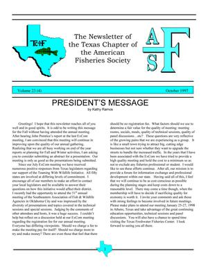 Primary view of object titled 'The Newsletter of the Texas Chapter of the American Fisheries Society, Volume 23, Number 4, October 1997'.