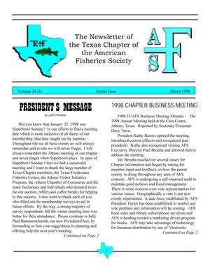 Primary view of object titled 'The Newsletter of the Texas Chapter of the American Fisheries Society, Volume 24, Number 1, March 1998'.