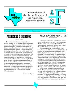 Primary view of object titled 'The Newsletter of the Texas Chapter of the American Fisheries Society, Volume 24, Number 2, June 1998'.