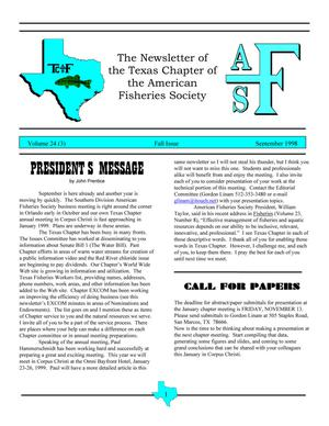 The Newsletter of the Texas Chapter of the American Fisheries Society, Volume 24, Number 3, September 1998