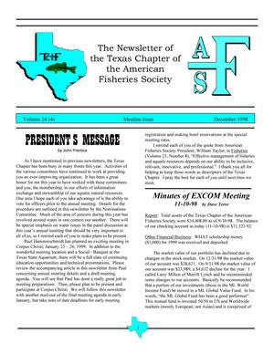 Primary view of object titled 'The Newsletter of the Texas Chapter of the American Fisheries Society, Volume 24, Number 4, December 1998'.