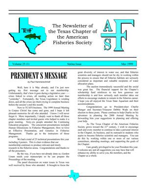 Primary view of object titled 'The Newsletter of the Texas Chapter of the American Fisheries Society, Volume 25, Number 1, May 1999'.