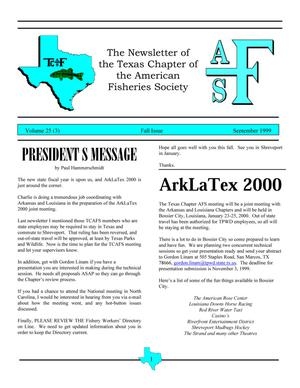 Primary view of object titled 'The Newsletter of the Texas Chapter of the American Fisheries Society, Volume 25, Number 3, September 1999'.