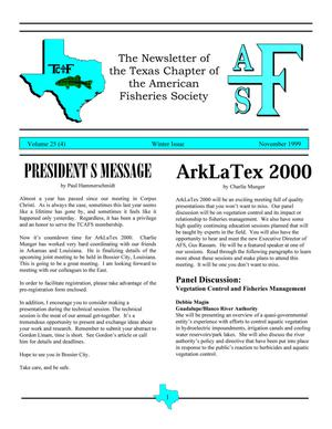 Primary view of object titled 'The Newsletter of the Texas Chapter of the American Fisheries Society, Volume 25, Number 4, November 1999'.