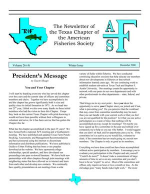 Primary view of object titled 'The Newsletter of the Texas Chapter of the American Fisheries Society, Volume 26, Number 4, 2000'.