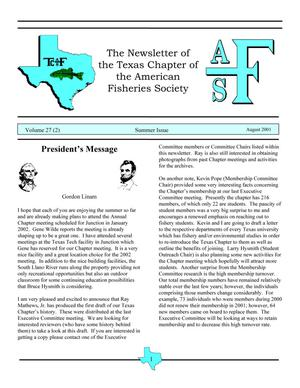 Primary view of object titled 'The Newsletter of the Texas Chapter of the American Fisheries Society, Volume 27, Number 2, 2001'.