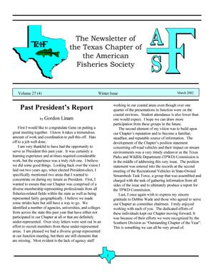 The Newsletter of the Texas Chapter of the American Fisheries Society, Volume 27, Number 4, 2002