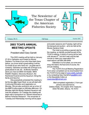 The Newsletter of the Texas Chapter of the American Fisheries Society, Volume 28, Number 3, 2002