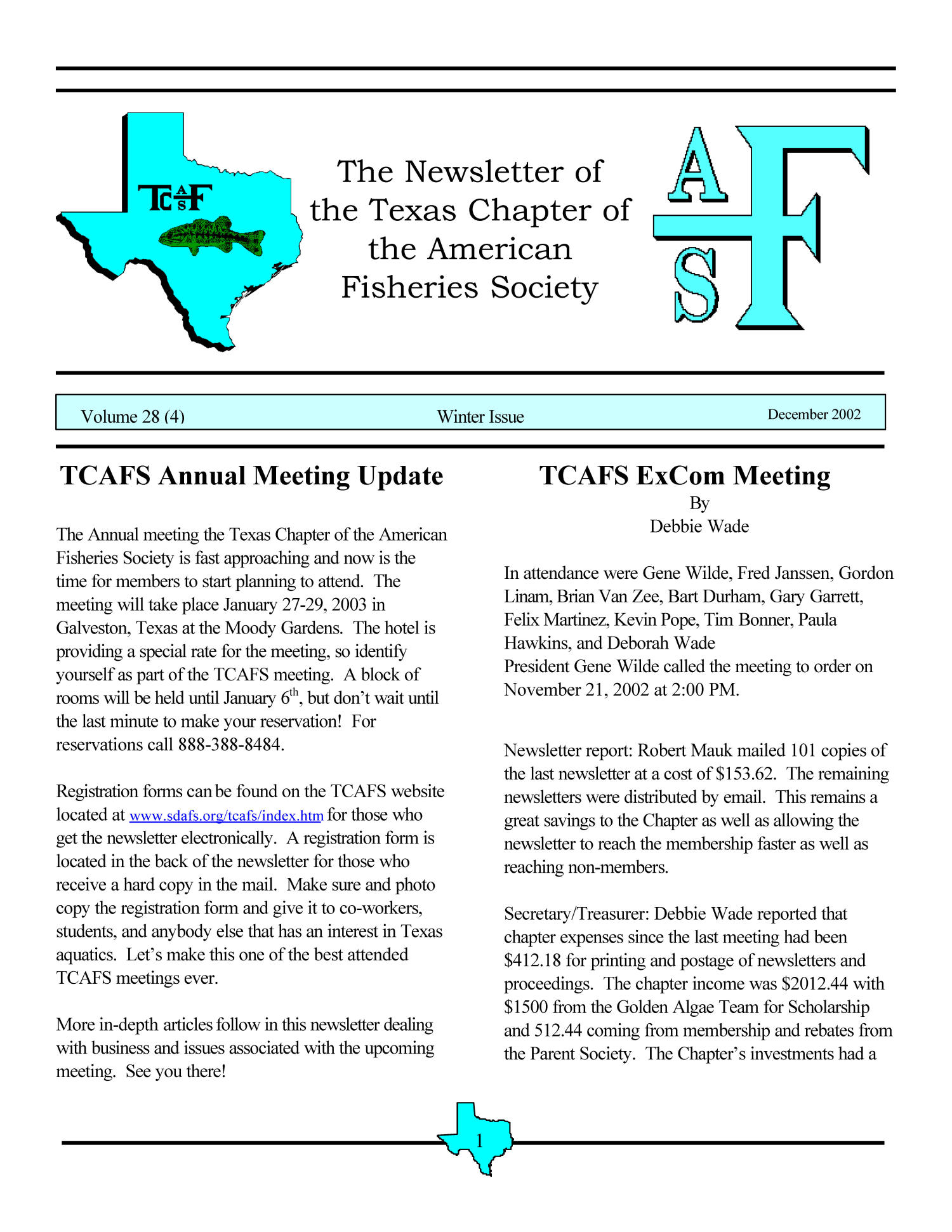 The Newsletter of the Texas Chapter of the American Fisheries Society, Volume 28, Number 4, 2002                                                                                                      1