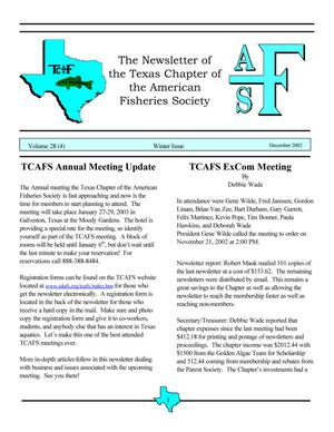 Primary view of object titled 'The Newsletter of the Texas Chapter of the American Fisheries Society, Volume 28, Number 4, 2002'.