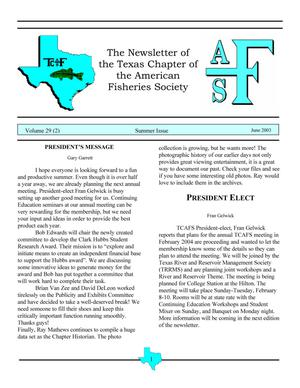 The Newsletter of the Texas Chapter of the American Fisheries Society, Volume 29, Number 2, 2003