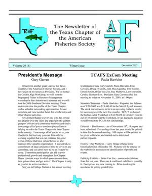 The Newsletter of the Texas Chapter of the American Fisheries Society, Volume 29, Number 4, 2003