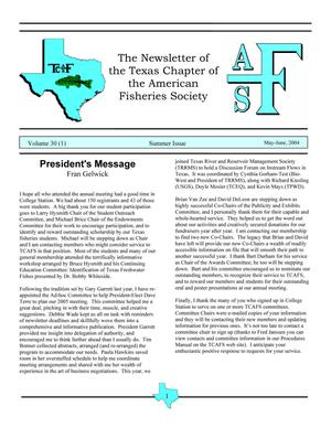 The Newsletter of the Texas Chapter of the American Fisheries Society, Volume 30, Number 1, 2004