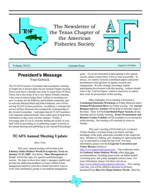 The Newsletter of the Texas Chapter of the American Fisheries Society, Volume 30, Number 2, 2004