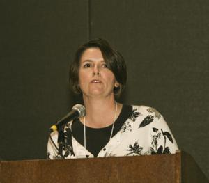 Primary view of object titled '[Lisa A. Gonzales Speaking at TCAFS Annual Meeting]'.