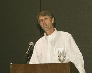 Primary view of object titled '[Warren Schlechte Speaking at TCAFS Annual Meeting]'.