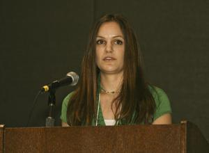 Primary view of object titled '[Larissa Kitchens Speaking at TCAFS Annual Meeting]'.