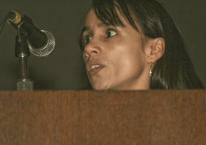 Primary view of object titled '[Carmen Montana Speaking at TCAFS Annual Meeting]'.