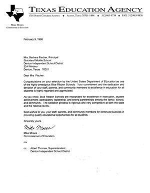 [Letter from Commissioner of Education to Barbara Fischer, February 9, 1996]