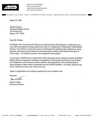 [Letter from Gene R. Carter, Executive Director ASCD to Barbara Fischer, March 29, 1996]