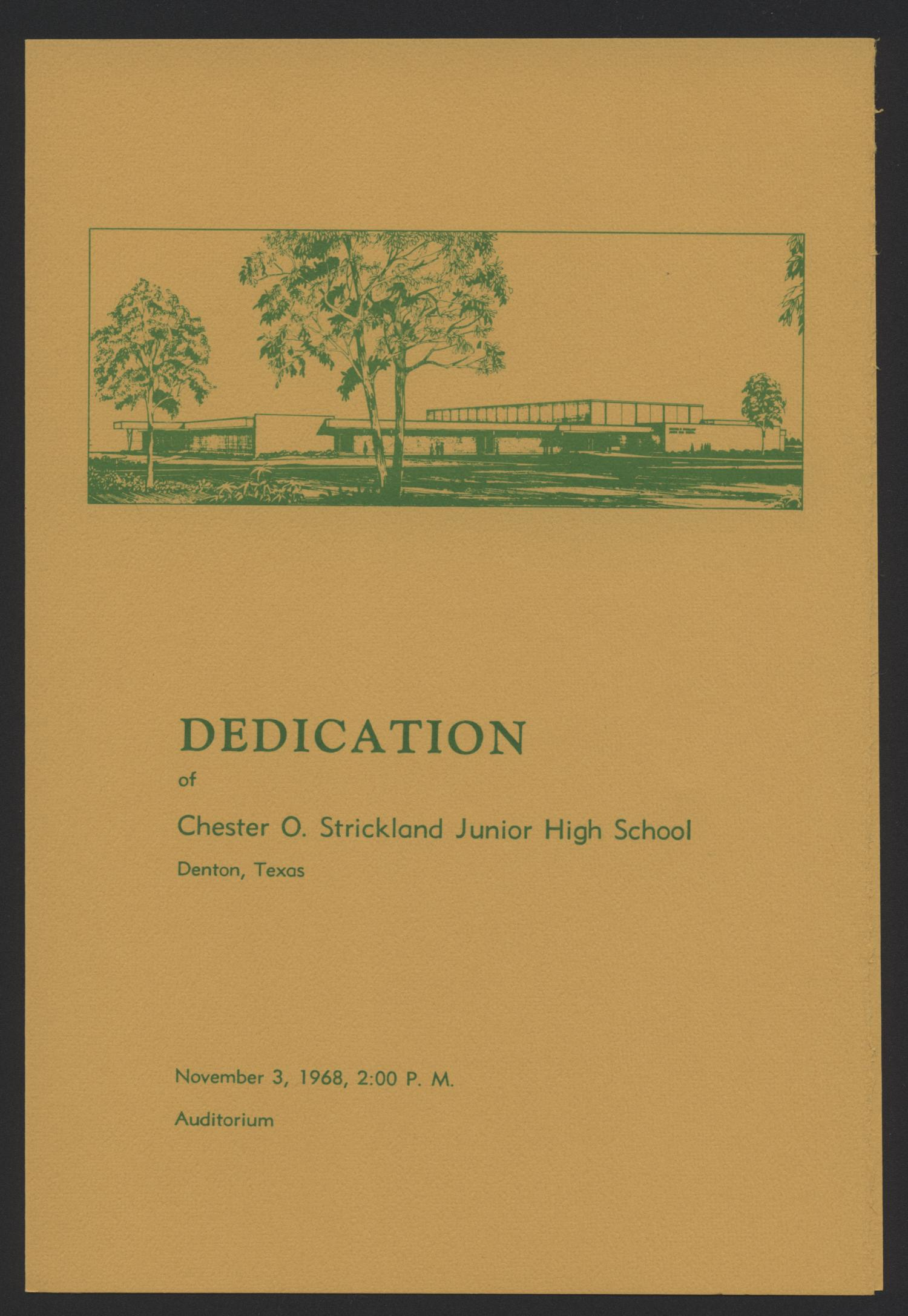 DEDICATION  of Chester O. Strickland Junior High School                                                                                                      [Sequence #]: 1 of 4
