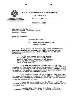 Primary view of object titled 'Texas Attorney General Opinion: O-6'.