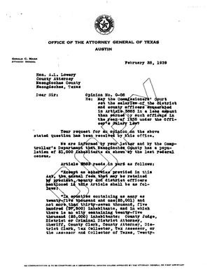 Primary view of object titled 'Texas Attorney General Opinion: O-8'.