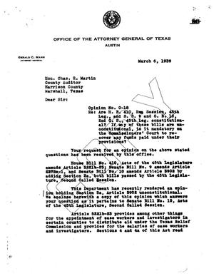 Primary view of object titled 'Texas Attorney General Opinion: O-18'.
