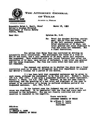 Primary view of object titled 'Texas Attorney General Opinion: O-21'.