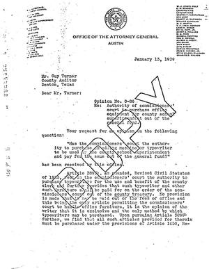 Primary view of object titled 'Texas Attorney General Opinion: O-86'.